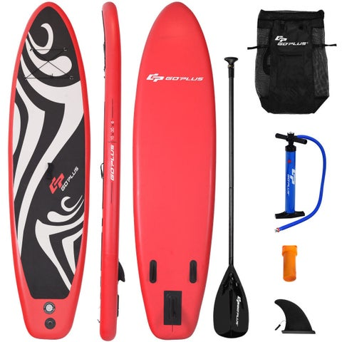 Goplus 10' Inflatable Stand up Paddle Board Surfboard SUP W/ Bag Adjustable Fin Paddle