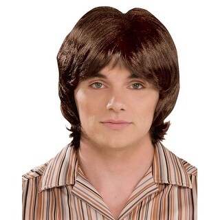 70's Teen Heart Throb Brown Costume Wig