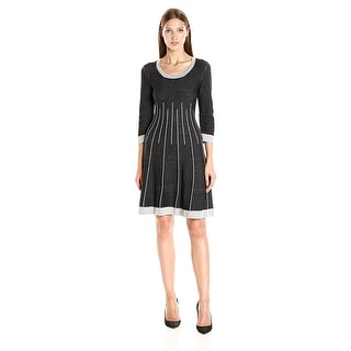 Nine West Fit and Flare 3/4 Sleeve Sweater Dress