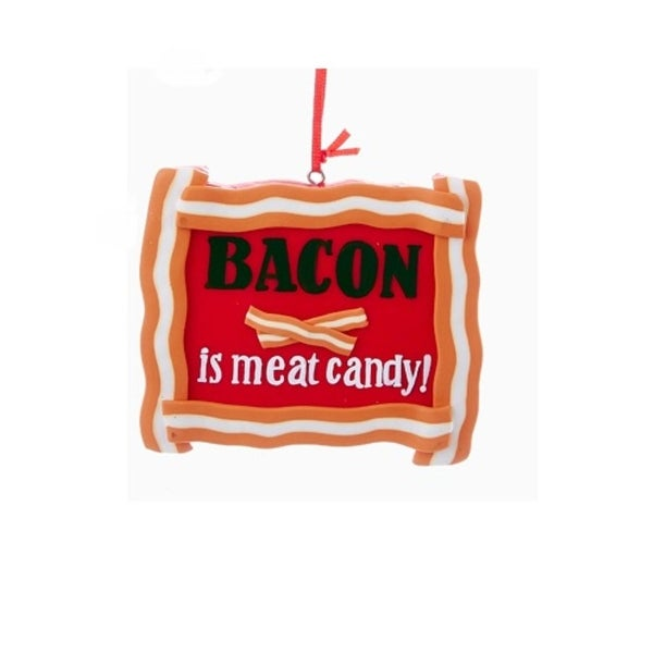 "3.5"" Red and Orange ""Bacon is Meat Candy"" Whimsical Hanging Christmas Ornament"