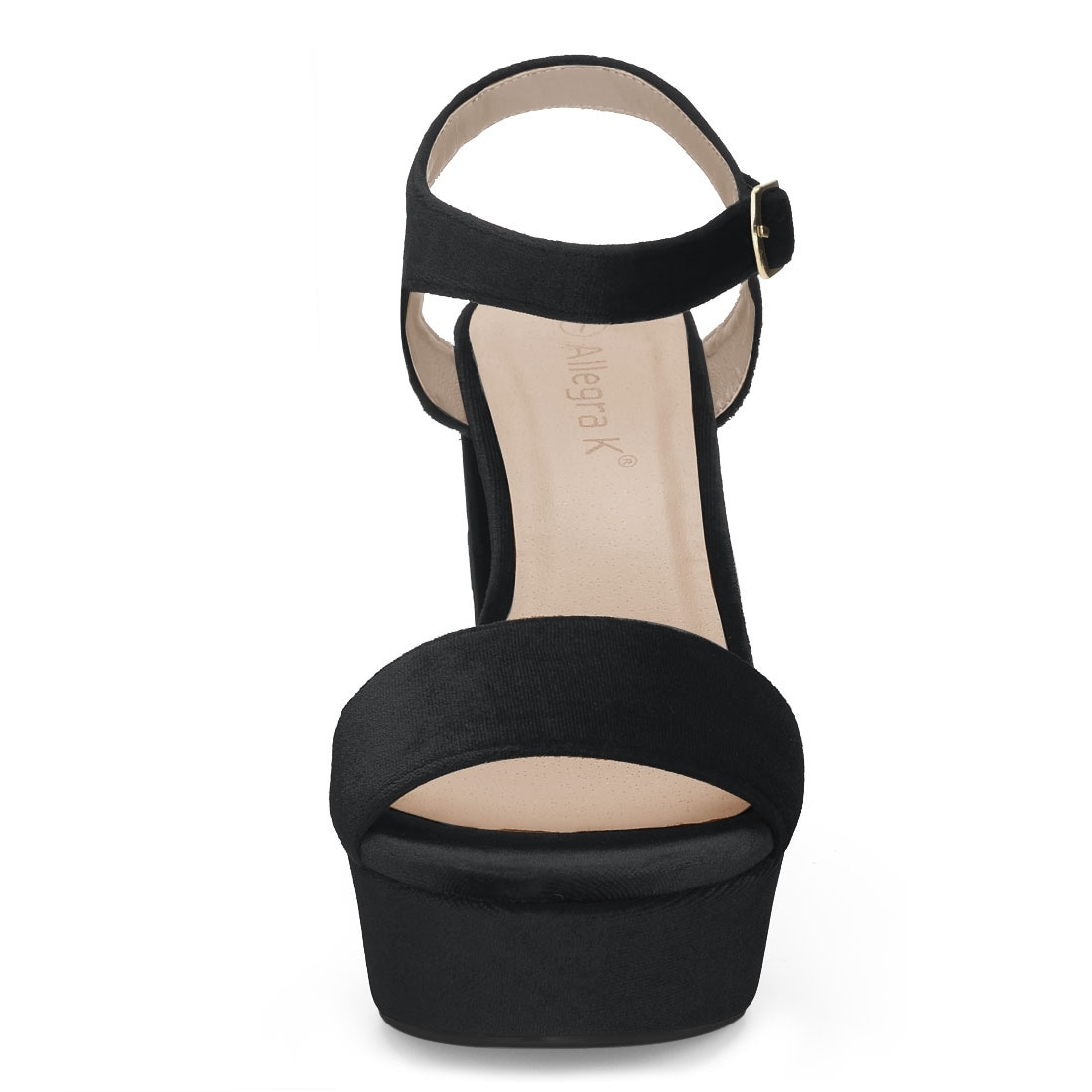 X2B Fern-2 Womens Angle Strap Open Toe Platform Block Heel Velvet Sandals OLIVE