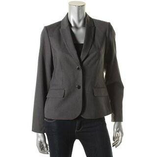 Calvin Klein Womens Petites Two-Button Blazer Pinstripe Peak Collar