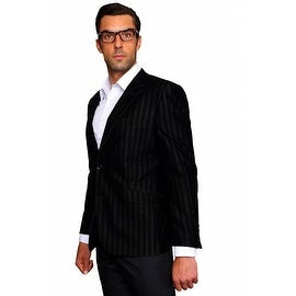 MZV-401 BLACK Men's Manzini Fancy Stripe design Velvet, sport coat