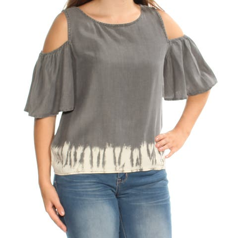 BUFFALO Womens Gray Cold Shoulder Short Sleeve Jewel Neck Top Size: S
