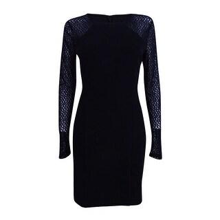Guess Women's Illusion-Sleeve Sheath Dress - Black