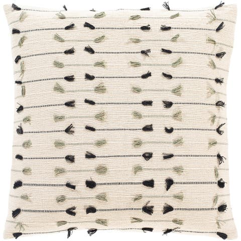 The Curated Nomad Vernon Bohemian Fringe 18-inch Pillow with Down or Poly Fill