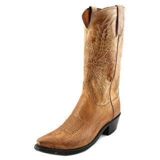Lucchese Crayton Men Square Toe Leather Tan Western Boot