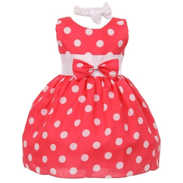 Baby Girls Pink White Polka Dot Bow Sash Headband Special Occasion Dress 3-24M