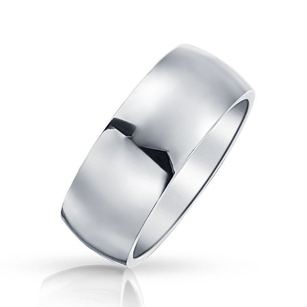 Stainless Steel Mens Wedding Band Ring 8mm: Shop Bling Jewelry Stainless Steel Mens Wedding Band Ring