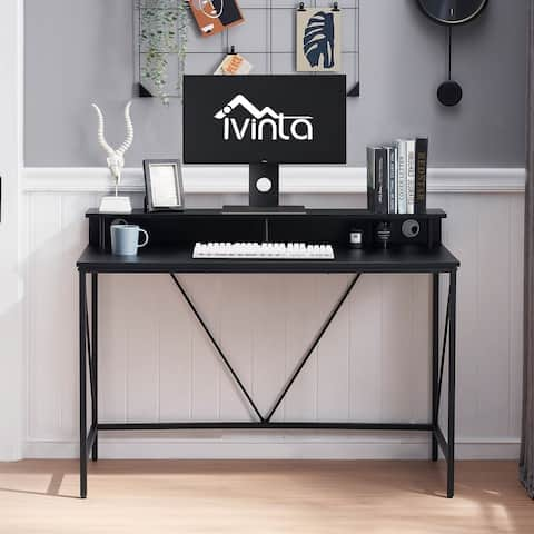Computer Desk Small Gaming Table with Monitor Stand Modern Student Writing Desk