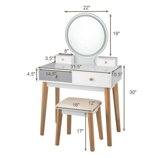 Costway Vanity Table 3 Color Lighting Modes Makeup