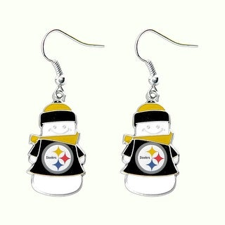 Pittsburgh Steelers NFL SNowman Holiday Dangle Logo Earring Set Charm Gift