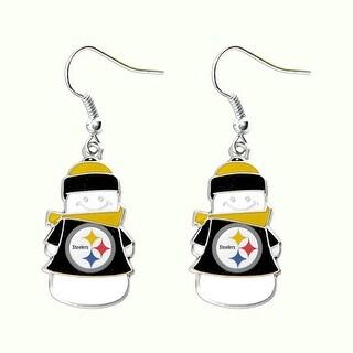 Pittsburgh Steelers NFL SNowman Holiday Dangle Logo Earring Set Charm Gift