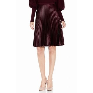 Vince Camuto Burgundy Red Womens Size 2P Petite Pleated Skirt