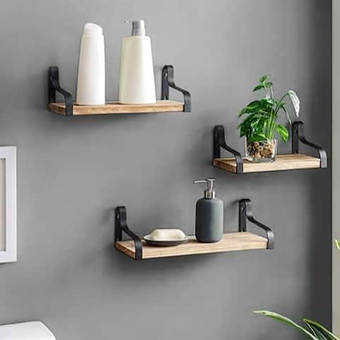 ALEKO Rustic Wood Wall Storage Floating Shelves - Set of 3