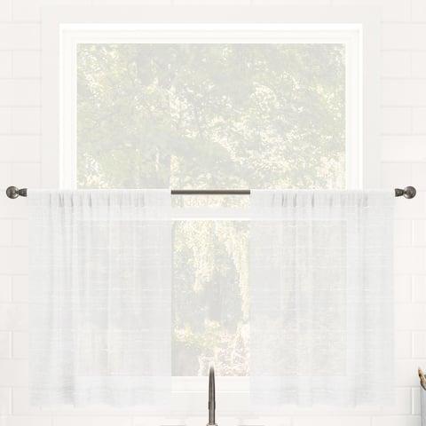 Clean Window Textured Slub Stripe Anti-Dust Linen Blend Sheer Cafe Curtain Pair