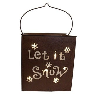 """12.5"""" Shimmering LED Lighted """"Let it Snow"""" Battery Operated Christmas Lantern"""