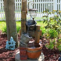 Sunnydaze Rustic Pouring Buckets Outdoor Water Fountain & Solar Lantern