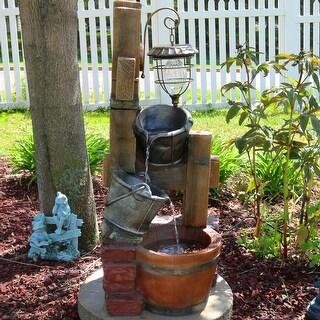 Sunnydaze Rustic Pouring Buckets Outdoor Water Fountain & Solar Lantern
