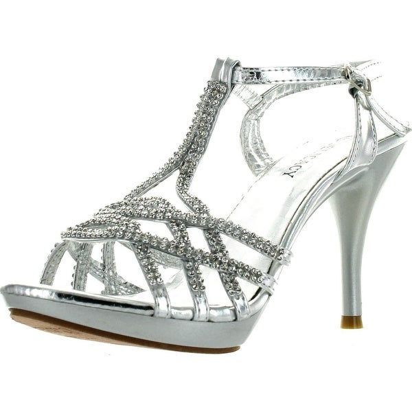 aee3d5a751 Delicacy Womens Essential74 Open Toe Rhinestone Strappy Stiletto High Heel  Sandal Shoes - Silver