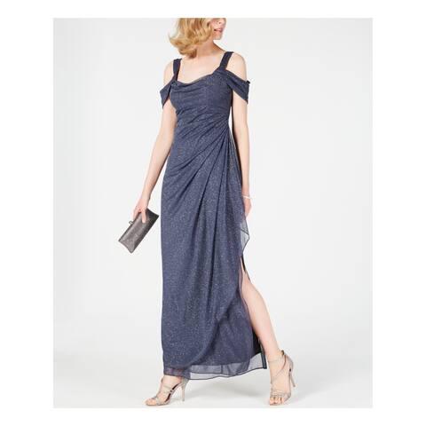 ALEX EVENINGS Womens Gray Cold Shoulder Gown Draped Metallic Scoop Neck Maxi Evening Dress Petites Size: 10P