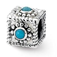 Sterling Silver Reflections Square Turquoise Bead (4mm Diameter Hole)