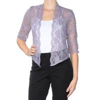 R&M RICHARDS Womens Purple Lace 3/4 Sleeve Open Cardigan Top Petites  Size: 10