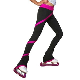 ChloeNoel Girls Black Fuchsia Spiral Ice Skating Pants 5-12 Adult XS-L