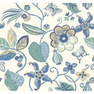 York Wallcoverings EB2003 Candice Olson Vibe Sea Floral Wallpaper - white/aqua/medium blue/navy blue - N/A