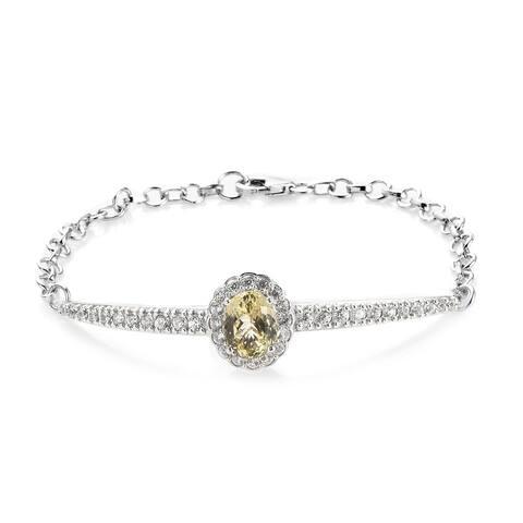 Shop LC 925 Silver Kunzite Zircon Line Bracelet Size 7.25 In Ct 6.2 - Bracelet 7.25''