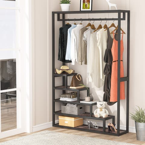 Garment Rack Heavy Duty Clothes Rack, Free-Standing Closet Organizer with 5 Shelves and Hanging Rod - Brown