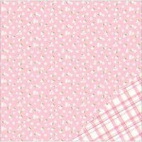 "Light Pink W/White Flower- American Crafts Basics Double-Sided Cardstock 12""X12"" (12/Pack)"