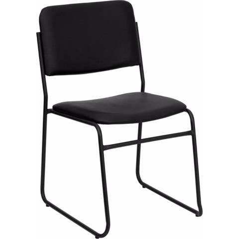Offex OFX-89962-FF High Density Black Vinyl StackingChair w/ Sled Base - Seat Height: 18.5''H.