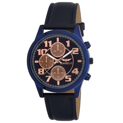 Gianello Men's Tri Faux Chronograph Vegan Leather Watch