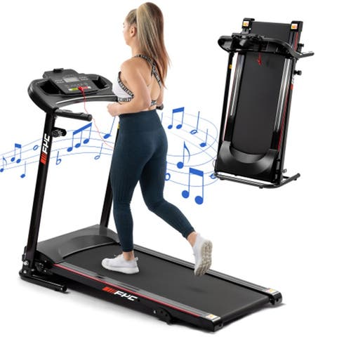 1.5HP Folding Electric Treadmills With LCD Display&Cup Holder,Black