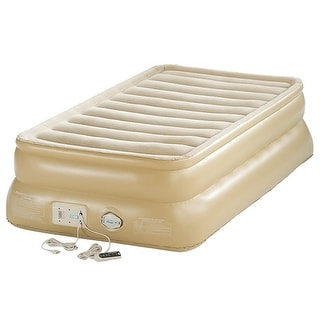 """Aerobed 88021 Smart Settings 20"""" Raised Twin Inflatable Air Bed Mattress - Tan"""