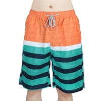 Men Stripes Pattern Outdoor Beach Swimming Surfing Shorts Swim Trunks