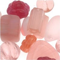 Czech Glass Bead Mix Lot Assorted Shapes Pink (2 oz.)
