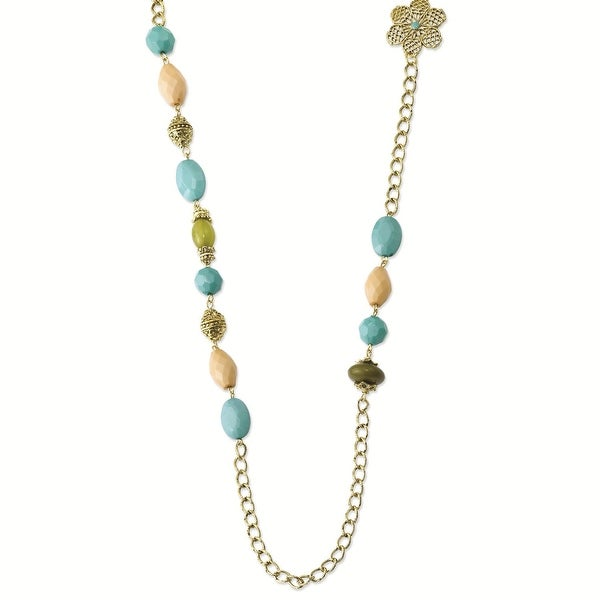 Goldtone Teal, Green and Cream Acrylic Beads Necklace - 38in