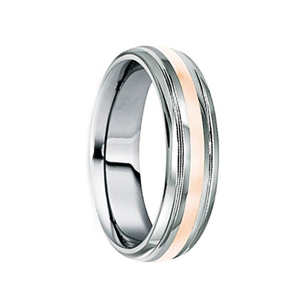 DOMITIUS Polished Tungsten Carbide Wedding Band with 18K Rose Gold Inlay & Dual Grooves by Crown Ring - 8mm