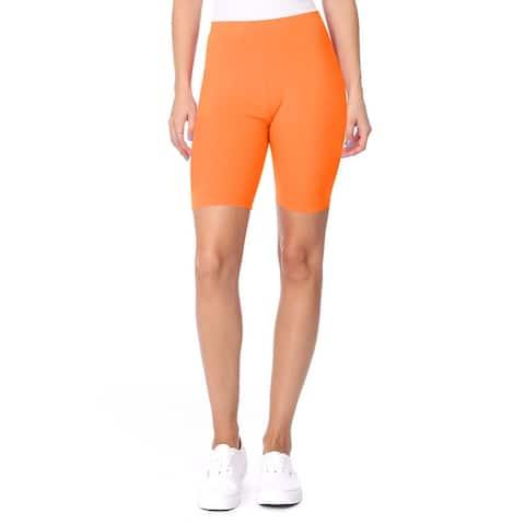 Women's Basic Workout Seamless Solid Ribbed Biker Shorts Pants