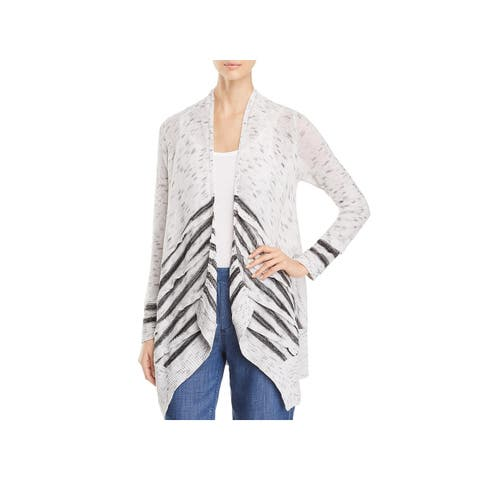 Nic + Zoe Womens Dash Cardigan Sweater Striped Panel Open Front