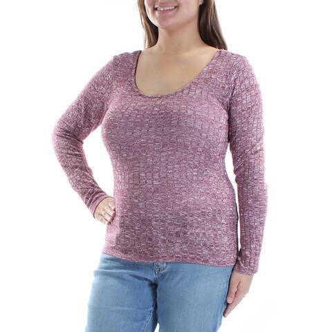 ULTRA FLIRT Womens Burgundy Textured Long Sleeve Scoop Neck Top Size: XL