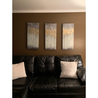Copper Grove Corydalis Grey Forest Grey Gel Coat Canvas with Gold Foil Embellishment 3-piece Set