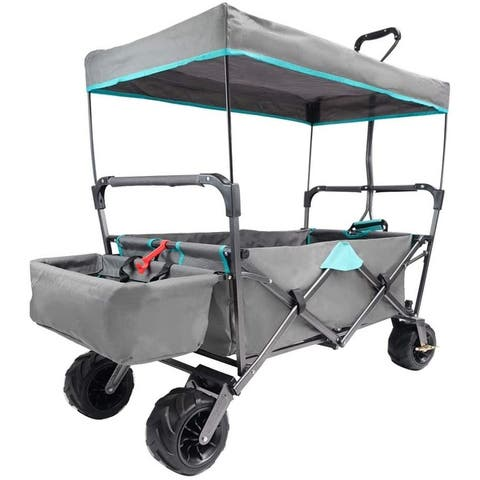 TiramisuBest Outdoor Push/Pull Shopping Collapsible Beach Wagon Cart