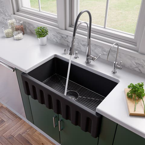 """33"""" Black Matte Reversible Smooth / Fluted Single Bowl Fireclay Farm Sink"""