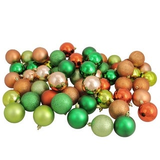 """Link to 60ct Green and Orange Shatterproof 3-Finish Christmas Ball Ornaments 2.5"""" (60mm) Similar Items in Christmas Decorations"""
