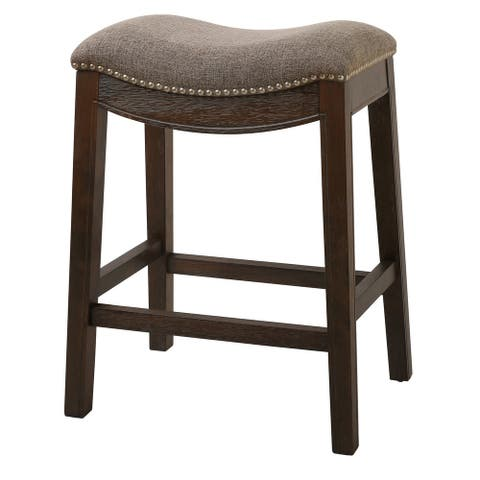 Counter Height Saddle Style Counter Stool with Fabric and Nail head Trim