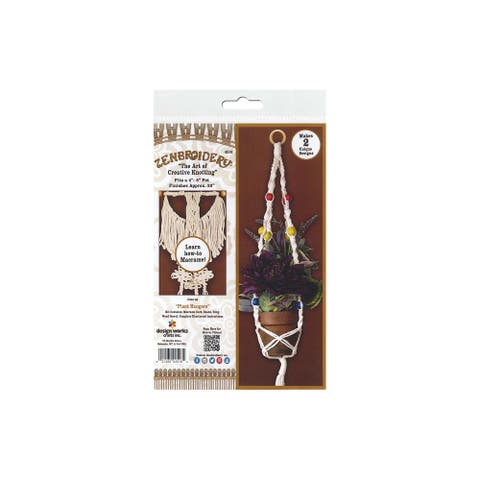 Design Works Zenbroidery Macrame Kit Plant Hangers - White - Medium