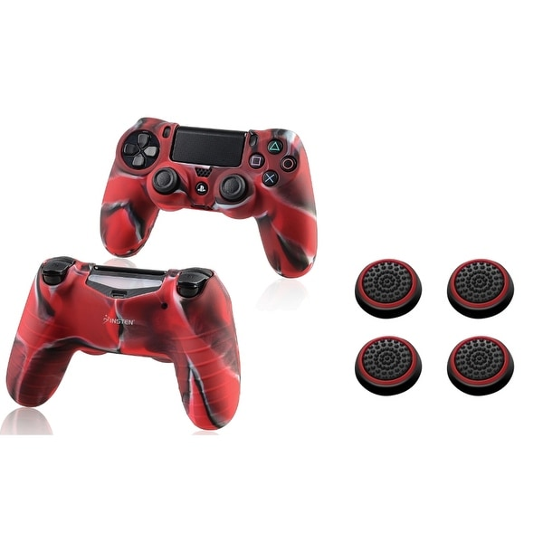Insten Camouflage Red Silicone Skin Case/ 4-piece Set Red Controller Analog Thumbstick Cap for Sony Playstation 4 PS4